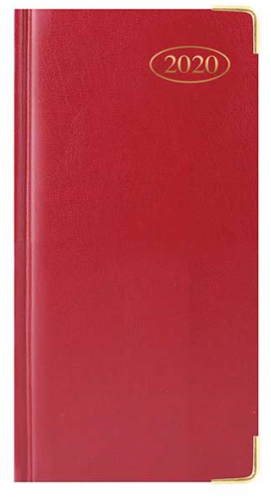 Slim Diary, WTV: Padded, Gilt-Edge with Metal - Red